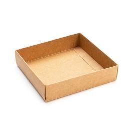 "4 1/8"" x 1"" x 4 1/4"" Kraft Paper Box Bottom (25 Pieces) [KR99]"