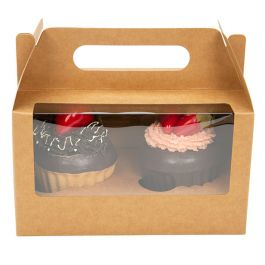 "7"" x 4"" x 4"" Kraft Double Cupcake Handle Box Set (100 Sets) [CBS173K]"