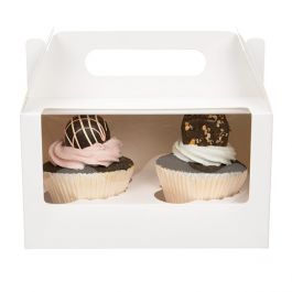 "7"" x 4"" x 4"" White Double Cupcake Handle Box Set (100 Sets) [CBS173W]"