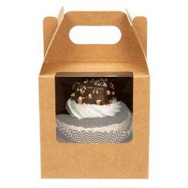 "4"" x 4"" x 4"" Kraft Single Cupcake Handle Box Set (100 Sets) [CBS57K]"