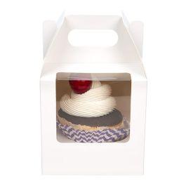"""4"""" x 4"""" x 4"""" White Single Cupcake Handle Box Set (100 Sets) [CBS57W]"""
