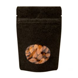 "4"" x 2 3/8"" x 6"" (Outer Dims) Black Kraft Stand Up Zipper Pouch Bags w/Oval Window (100 Pieces) [ZBGO2BK]"