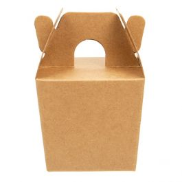 """2 3/8"""" x 2"""" x 2 1/8"""" Kraft Mini Take Out Box (25 Pieces) [FS381]"""