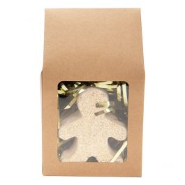 """3 1/2"""" x 3 1/2"""" x 6 1/2"""" Kraft Tapered Tote Box with Window (25 Pieces) [TB283] - CLEARANCE"""
