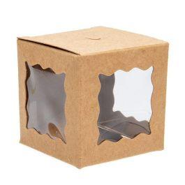 """2"""" x 2"""" x 2"""" Kraft 3 Sided Window Box (25 Pieces) [WKRG344]"""