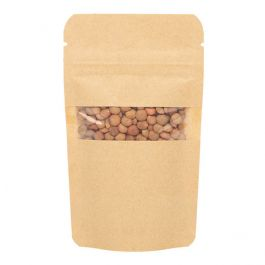 "3 1/8"" x 2"" x 5 1/8"" (Outer Dimensions) Kraft Zipper Pouch Bags (100 Pieces) [ZBGW1K]"