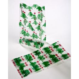 "4"" x 2 1/2"" x 9 1/2"" Little Trees Printed Gusset Bags, 1.2 Mil (100 Pieces) [G4CTR]"