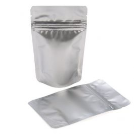 "3 1/8"" x 2"" x 5 1/8"" (Outer Dimensions) Silver Metallized Zipper Pouch Bags (100 Pieces) [ZBGM1S]"