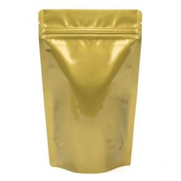 "5 1/8"" x 3 1/8"" x 8 1/8"" (Outer Dimensions) Gold Metallized Zipper Pouch Bags (100 Pieces) [ZBGM3G]"