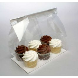 "7"" x 4"" x 9"" Cupcake Bag Set for Six Minis (100 Sets) [CBG7]"