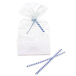 "4"" x 5/32"" Paper White/Blue Stripe Twist Tie (1000 Pieces) [TT4WBS]"