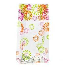 "3 1/2"" x 2"" x 7 1/2"" Blooming Dots Printed Gusset Bags, 1.2 Mil (100 Pieces) [G3BD]"