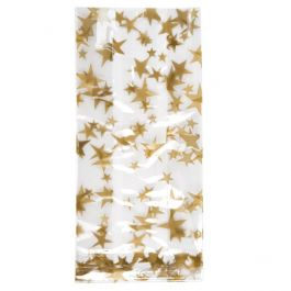 "3 1/2"" x 2"" x 7 1/2"" More Stars Gold Printed Gusset Bags, 1.2 Mil (100 Pieces) [G3MSG]"