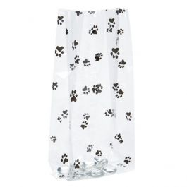 "4"" x 2 1/2"" x 9 1/2"" Paw Prints Printed Gusset Bags, 1.2 Mil (100 Pieces) [G4PAW]"
