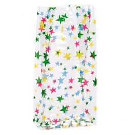 """4"""" x 2 1/2"""" x 9 1/2"""" More Stars Printed Gusset Bags, 1.2 Mil (100 Pieces) [G4MS1]"""