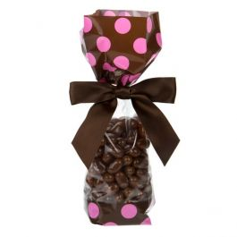 "2"" x 1 7/8"" x 9 1/2"" Brown w/Pink Polka Dots Printed Cello Gusset Bags 1.6 Mil (100 Pieces) [G1BP]"