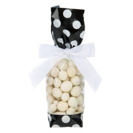 "2"" x 1 7/8"" x 9 1/2"" Black w/White Polka Dots Printed Cello Gusset Bags 1.6 Mil (100 Pieces) [G1BW]"