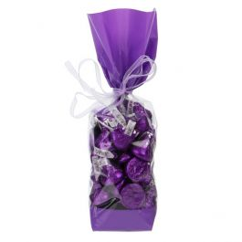 "2"" x 1 7/8"" x 9 1/2"" Purple Solid Bands Printed Cello Gusset Bags, 1.6 Mil (100 Pieces) [G1PL]"