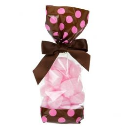 "2 5/8"" x 1 7/8"" x 10 3/4"" Brown w/Pink Polka Dots Printed Cello Gusset Bags 1.6 Mil (100 Pieces) [G2BP]"