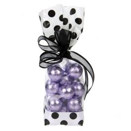 "2 5/8"" x 1 7/8"" x 10 3/4"" White w/Black Polka Dots Printed Cello Gusset Bags 1.6 Mil (100 Pieces) [G2WB]"