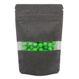 "4"" x 2 3/8"" x 6"" (Outer Dims) Black Rice Paper Stand Up Pouch (100 Pieces) [ZBGR2B]"