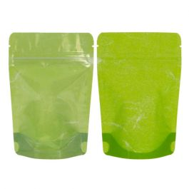 "4"" x 2 3/8"" x 6"" (Outer Dims) Green Rice Paper Backed Stand Up Pouches (100 Pieces) [ZBGR2GRC]"