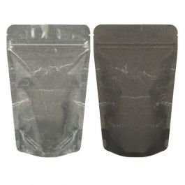 "5 1/8"" x 3 1/8"" x 8 1/8"" (Outer Dims) Black Rice Paper Backed Stand Up Pouches (100 Pieces) [ZBGR3BC]"