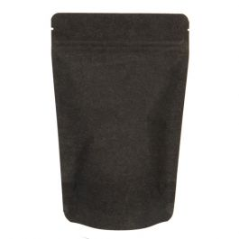 "5 1/8"" x 3 1/8"" x 8 1/8"" (Outer Dims) Solid Black Rice Paper Stand Up Pouches (100 Pieces) [ZBGR3SB]"