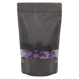 "6 3/4"" x 3 1/2"" x 11 1/4"" (Outer Dims) Black Rice Paper Stand Up Pouch (100 Pieces) [ZBGR4B]"