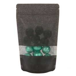 "5 1/8"" x 3 1/8"" x 8 1/8"" (Outer Dims) Black Rice Paper Stand Up Pouch (100 Pieces) [ZBGR3B]"