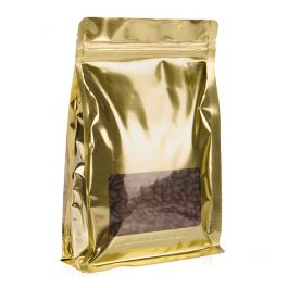 """5"""" x 1 3/4"""" x 6 1/2"""" Shimmer Gold Box Bottom Zipper Pouches w/Window (100 Pieces) [SQMS3SG] - CLEARANCE"""