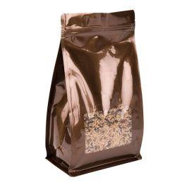 """5"""" x 3"""" x 8"""" Bronze Box Bottom Zipper Pouches w/Window (100 Pieces) [SQMS7BZ] - CLEARANCE"""