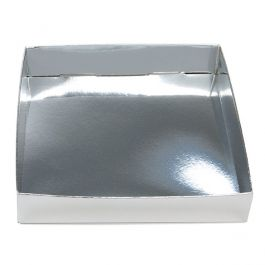 "5 1/8"" x 1"" x 5 1/4"" Shimmer Silver Paper Box Bottom (25 Pieces) [SS357]"