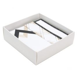 "3 1/8"" x 1"" x 3 1/4"" Matte White Paper Box Bottom (25 Pieces) [WH356]"