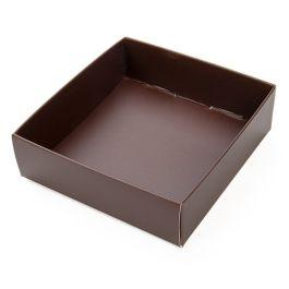 "3 1/8"" x 1"" x 3 1/4"" Chocolate Brown Paper Box Bottom (25 Pieces) [CB356]"