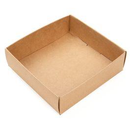 "3 1/8"" x 1"" x 3 1/4"" Kraft Paper Box Bottom (25 Pieces) [KR356]"