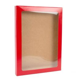 "5 3/8"" x 5/8"" x 7 3/8"" Gloss Red Kraft Paper Window Box with Attached PET Sheet A7 (25 Pieces) [WGRG1]"