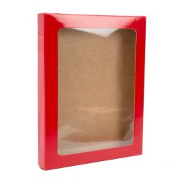 "4 1/2"" x 5/8"" x 5 7/8"" Gloss Red Kraft Paper Window Box with Attached PET Sheet A2 (25 Pieces) [WGRG3]"