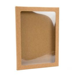 "5 3/8"" x 1/2"" x 7 3/8"" Kraft Paper Window Box with Attached PET Sheet, A7 (25 Pieces) [WKRG4]"