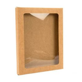"4 1/2"" x 1/2"" x 5 7/8"" Kraft Paper Window Box with Attached PET Sheet, A2 (25 Pieces) [WKRG6]"
