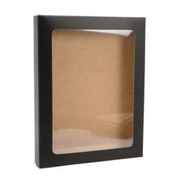 "4 1/2"" x 5/8"" x 5 7/8"" Matte Black Kraft Paper Window Box with Attached PET Sheet, A2 (25 Pieces) [WMBG3]"
