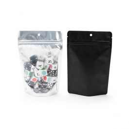 "4 11/16"" x 3"" x 7 1/4"" (Outer Dims) Black Backed Stand Up Zipper Pouch with Hang Hole (100 Pieces) [ZBGB46H]"