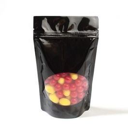 """4"""" x 2 3/8"""" x 6"""" (Outer Dims) Black Stand Up Zipper Pouch Bags w/Oval Window (100 Pieces) [ZBGO2B]"""