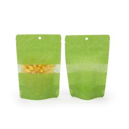 "4"" x 2 3/8"" x 6"" (Outer Dims) Green Rice Paper Stand Up Pouch with Hang Hole (100 Pieces) [ZBGR2GRH]"