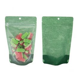 "5 1/8"" x 3 1/8"" x 8 1/8"" (Outer Dims) Harvest Green Rice Paper Backed Stand Up Pouch w/Hang Hole (100 Pieces) [ZBGR3HGR]"