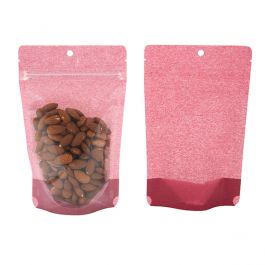 """5 1/8"""" x 3 1/8"""" x 8 1/8"""" (Outer Dims) Harvest Cranberry Rice Paper Backed Stand Up Pouch w/Hang Hole (100 Pieces) [ZBGR3HR]"""