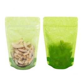 "4 11/16"" x 3"" x 7 1/4"" (Outer Dims) Green Rice Paper Backed Stand Up Pouches (100 Pieces) [ZBGR46GC]"