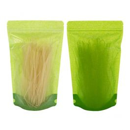 "6 3/4"" x 3 1/2"" x 11 1/4"" (Outer Dims) Green Rice Paper Backed Stand Up Pouches (100 Pieces) [ZBGR4GRC]"
