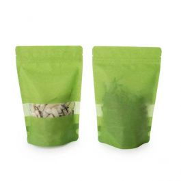 "5 7/8"" x 3 1/2"" x 9 1/8"" (Outer Dims) Green Rice Paper Backed Stand Up Pouch (100 Pieces) [ZBGR7GR]"