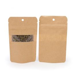 "3 1/8"" x 2"" x 5 1/8"" (Outer Dims) Kraft Zipper Pouch with Hang Hole (100 Pieces) [ZBGW1KH]"
